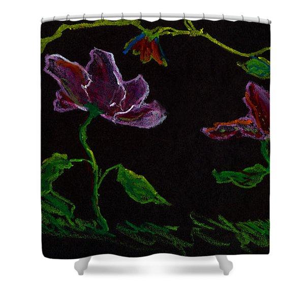 Brilliant Flowers On Black Hand Drawn Shower Curtain