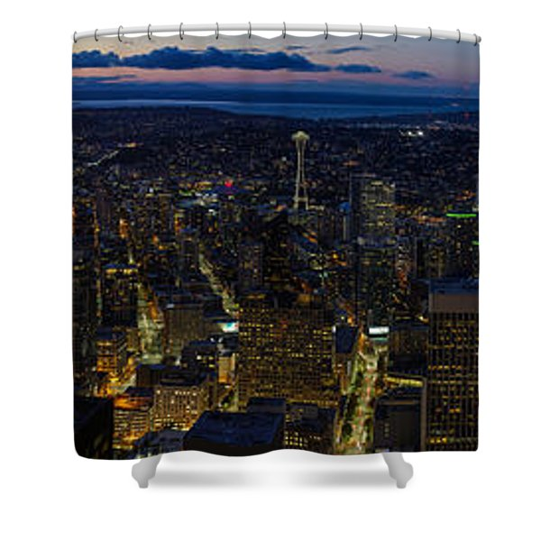 Brilliant Seattle Skyline Panorama From Atop The Columbia Center Shower Curtain
