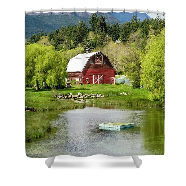 Brinnon Washington Barn By Pond Shower Curtain