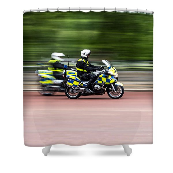 British Police Motorcycle Shower Curtain