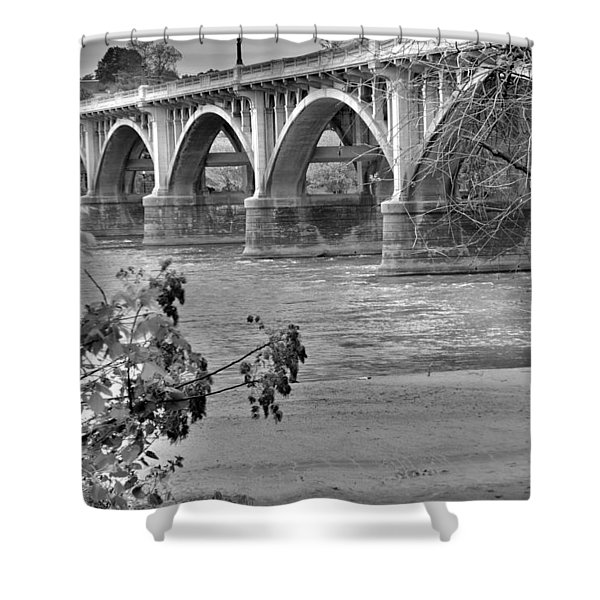 Gervais Street Bridge Black And White Shower Curtain
