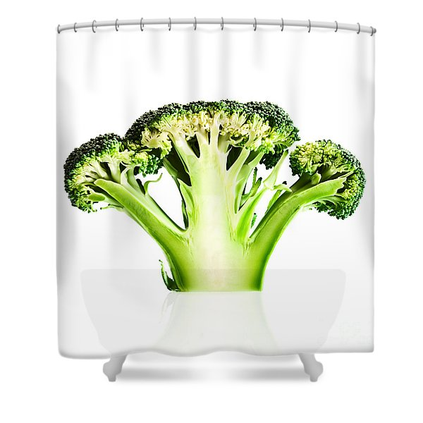 Broccoli Cutaway On White Shower Curtain