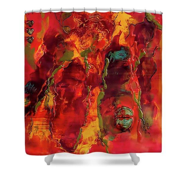 Broken Mask Encaustic Shower Curtain