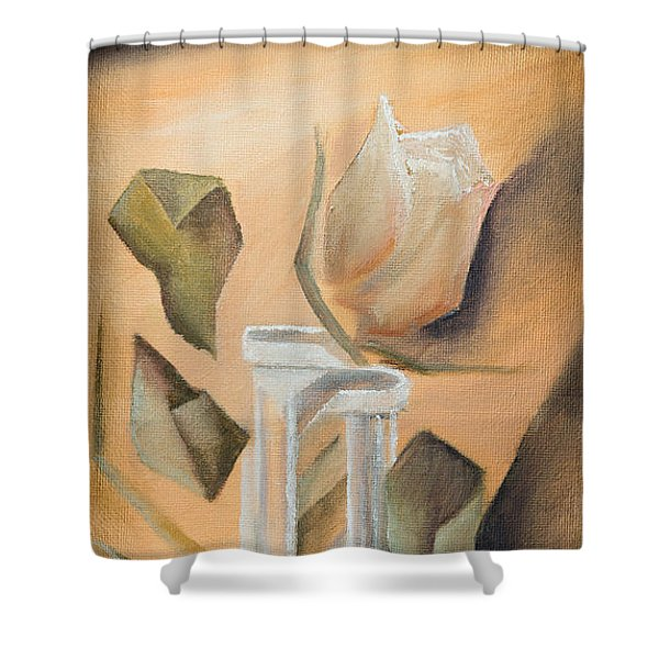 Shower Curtain featuring the painting Broken Rose by Break The Silhouette