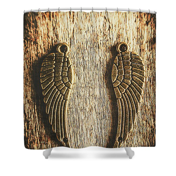 Bronze Angel Wings Shower Curtain