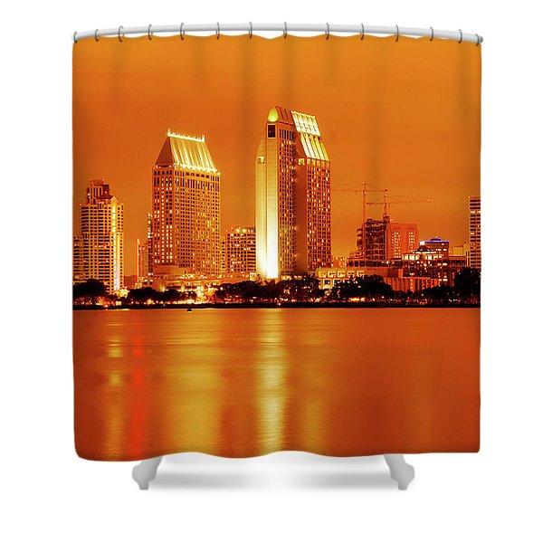 Bronze San Diego Skyline Shower Curtain