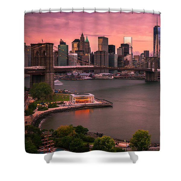 Shower Curtain featuring the photograph Brooklyn Bridge Over New York Skyline At Sunset by Ranjay Mitra