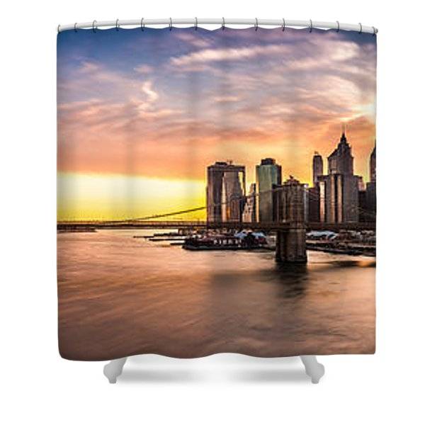 Brooklyn Bridge Panorama Shower Curtain
