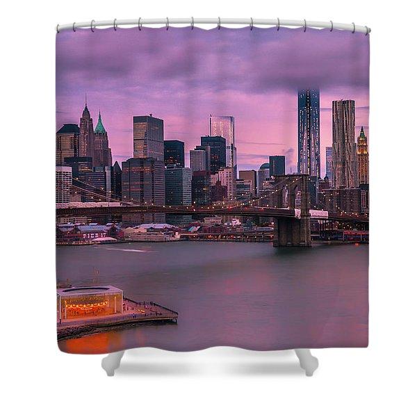 Brooklyn Bridge World Trade Center In New York City Shower Curtain