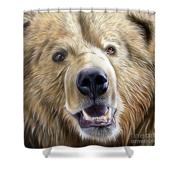 Shower Curtain featuring the painting Brown Bear by Sandi Baker
