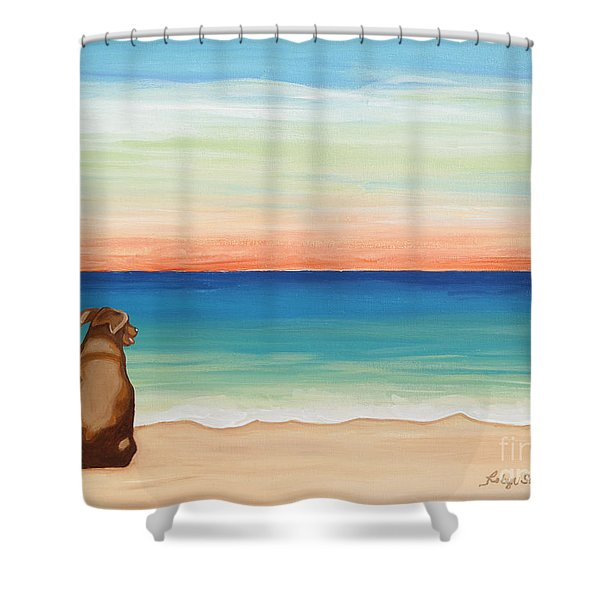 Brown Lab Dog On The Beach Shower Curtain
