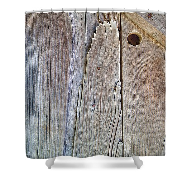 Brown Wood Barn Door Shower Curtain