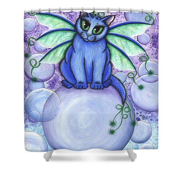 Bubble Fairy Cat Shower Curtain