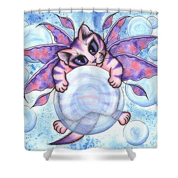 Bubble Fairy Kitten Shower Curtain