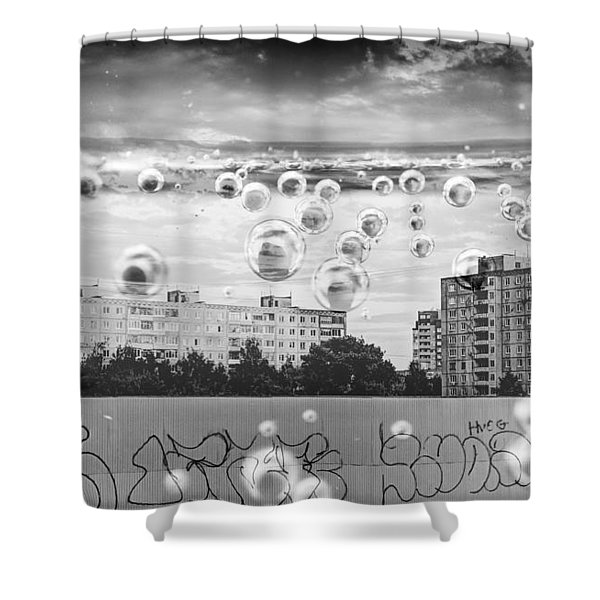 Bubbles And The City Shower Curtain