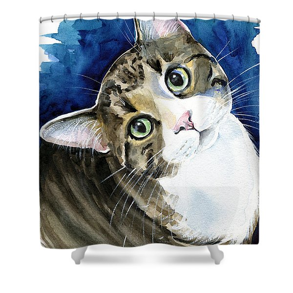 Bubbles - Tabby Cat Painting Shower Curtain