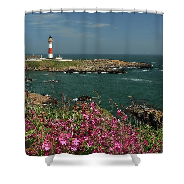 Buchan Ness Lighthouse And Spring Flowers Shower Curtain