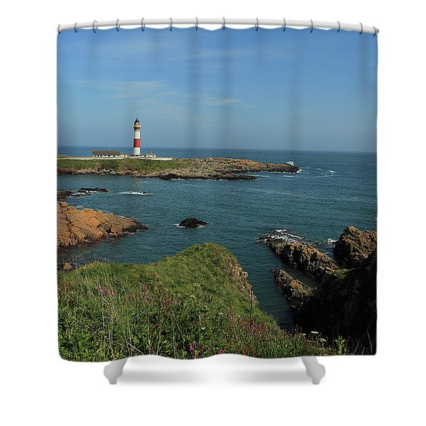 Buchan Ness Lighthouse And The North Sea Shower Curtain