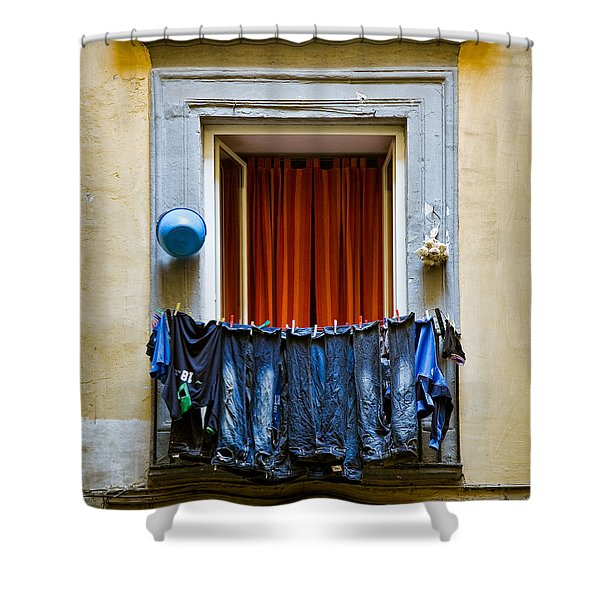 Bucket - Garlic And Jeans Shower Curtain
