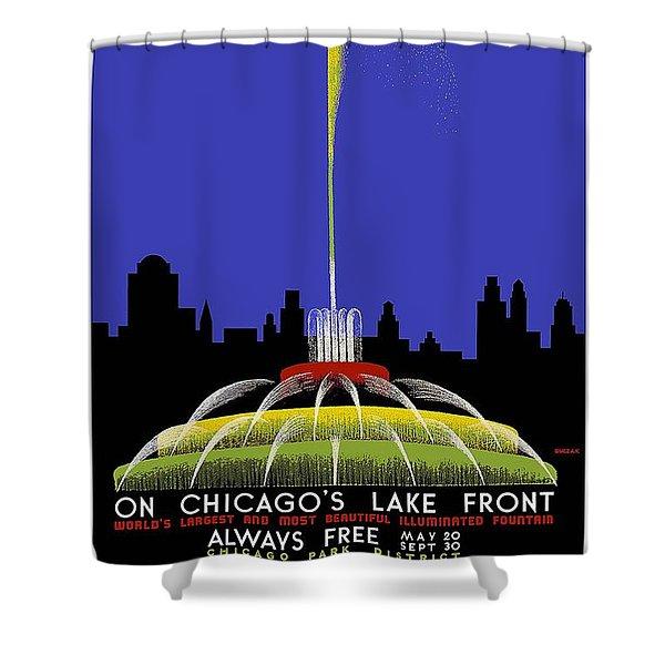 Buckingham Fountain Vintage Travel Poster Shower Curtain