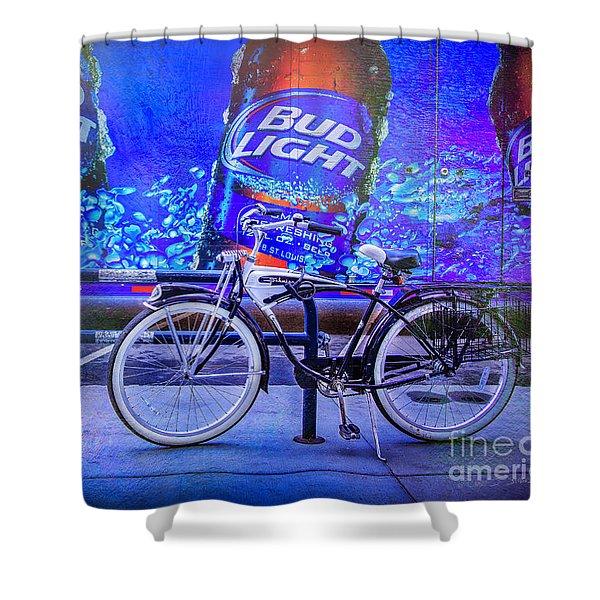 Bud Light Schwinn Bicycle Shower Curtain