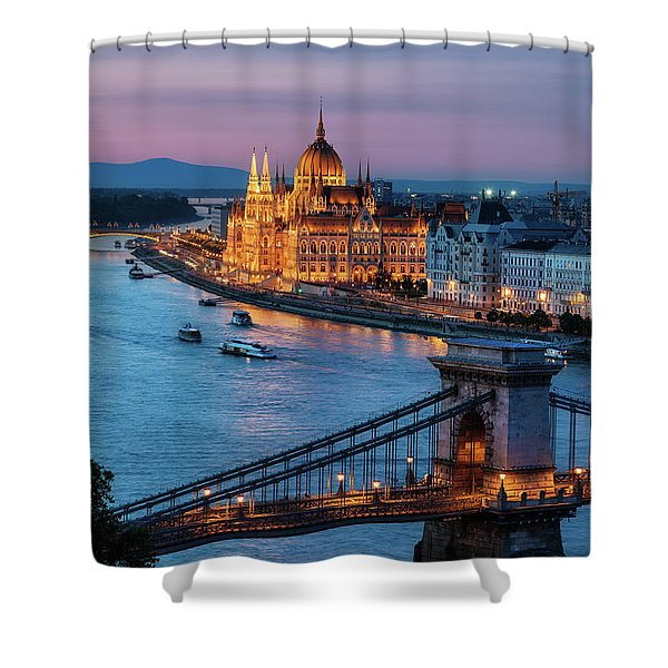 Budapest City At Dusk Shower Curtain