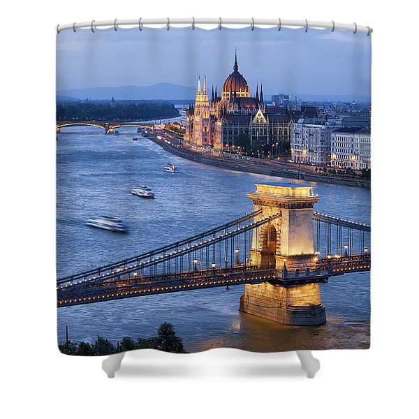 Budapest Cityscape At Dusk Shower Curtain