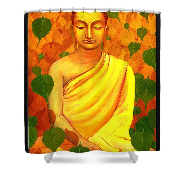 Buddha In Green Leaves Shower Curtain