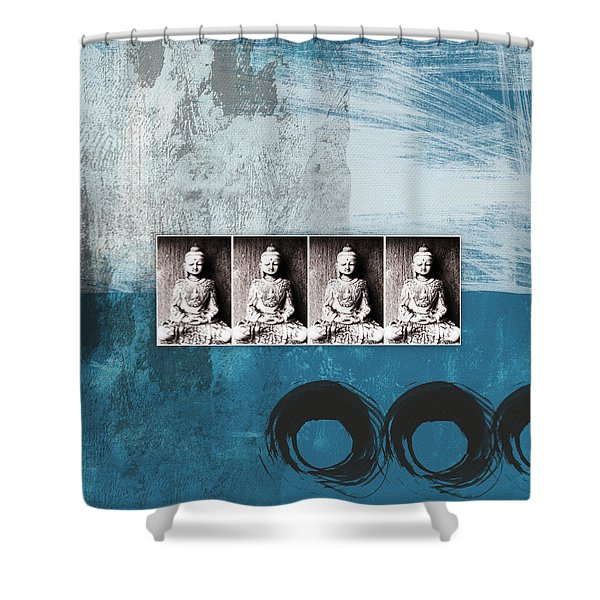 Buddhas In Blue- Contemporary Art By Linda Woods. Shower Curtain