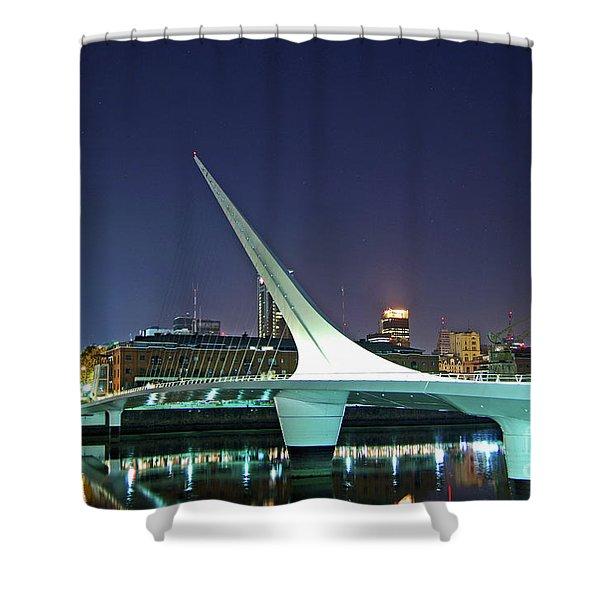 Buenos Aires - Argentina - Puente De La Mujer At Night Shower Curtain
