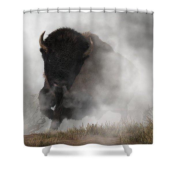 Buffalo Emerging From The Fog Shower Curtain
