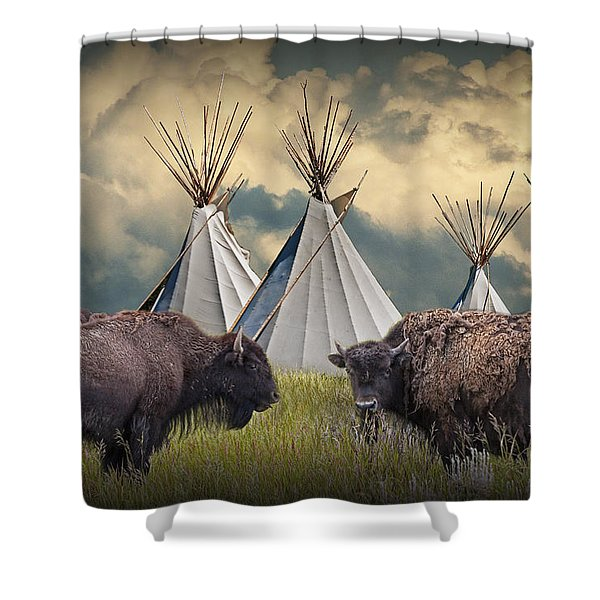Buffalo Herd On The Reservation Shower Curtain