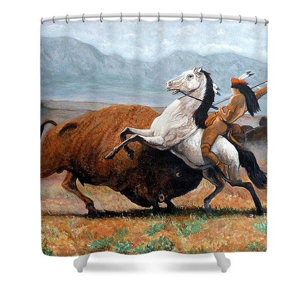 Buffalo Hunt Shower Curtain