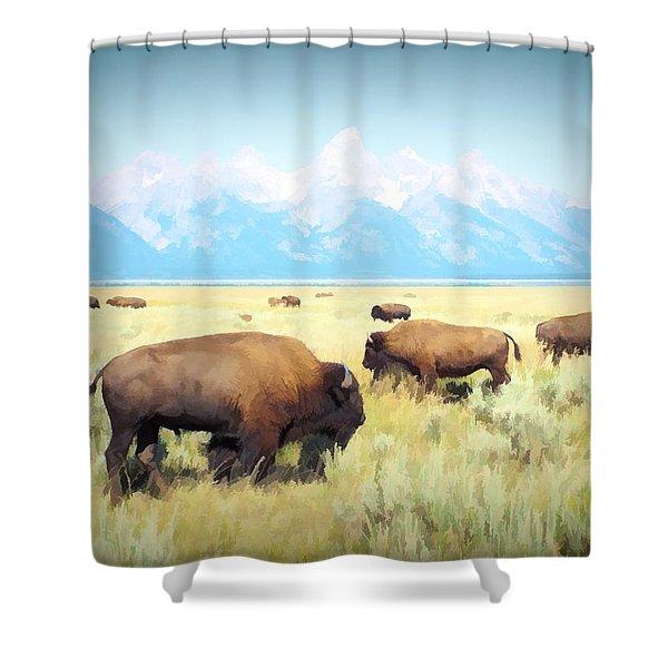 Buffalo Roam, Smokey Grand Tetons, Wyoming Shower Curtain