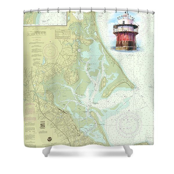 Bug Light On A Noaa Chart Shower Curtain