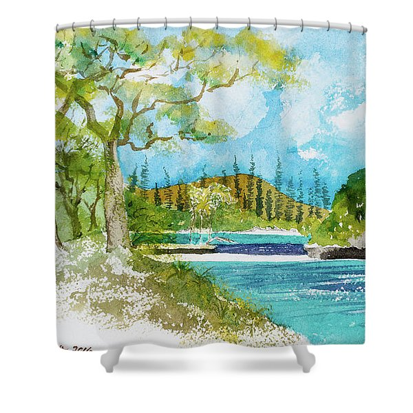 Bugny Trees At Kanumera Bay, Ile Des Pins Shower Curtain