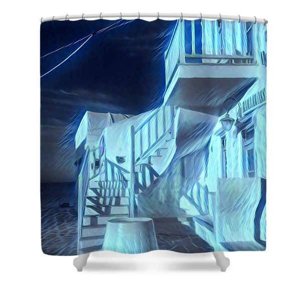Building At Harbour  Shower Curtain