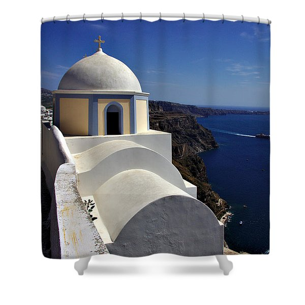 Building In Fira Shower Curtain