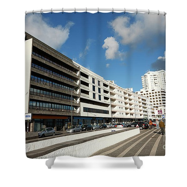 Buildings In Ponta Delgada Shower Curtain