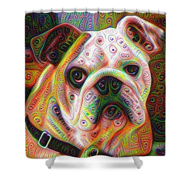 Bulldog Surreal Deep Dream Image Shower Curtain