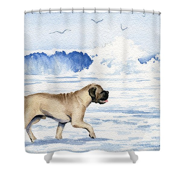 Bullmastiff On The Beach Shower Curtain