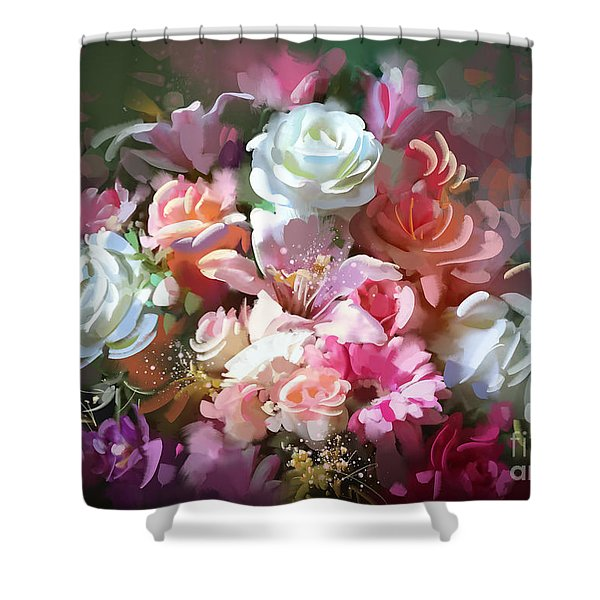 Shower Curtain featuring the painting Bunch Of Roses by Tithi Luadthong
