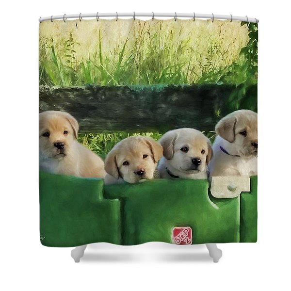 Bundles Of Joy - Labrador Art Shower Curtain