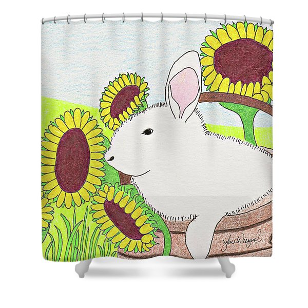 Bunny In A Basket Shower Curtain