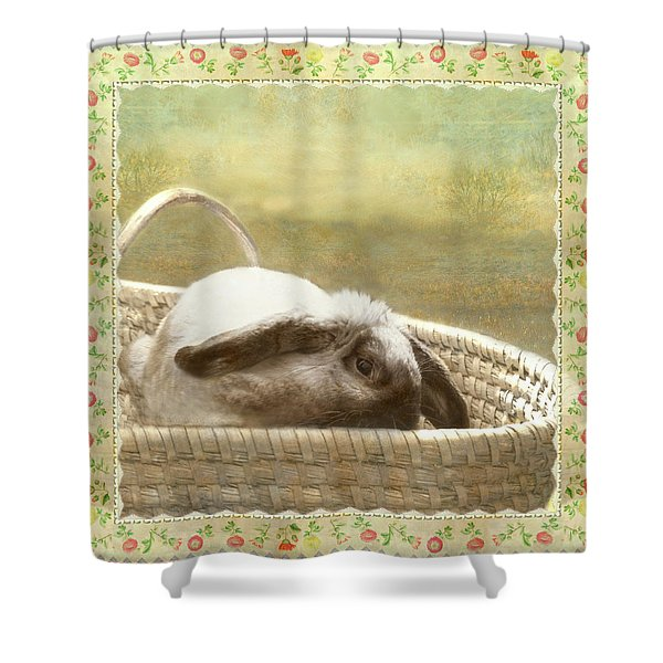 Bunny In Easter Basket Shower Curtain