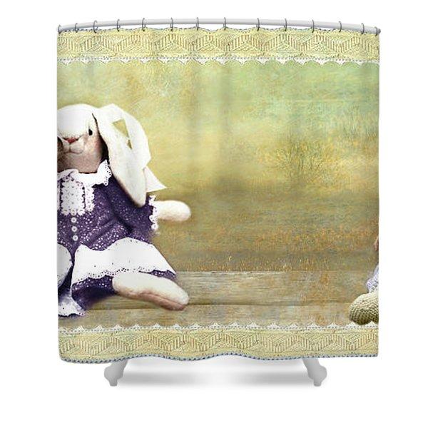 Bunny Kisses Doll Shower Curtain