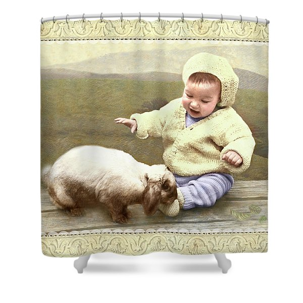 Bunny Nuzzles Baby's Toes Shower Curtain