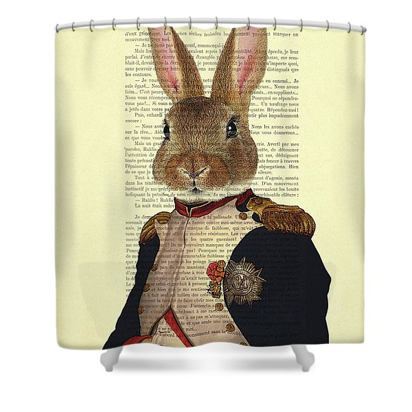 Bunny Portrait Illustration Shower Curtain