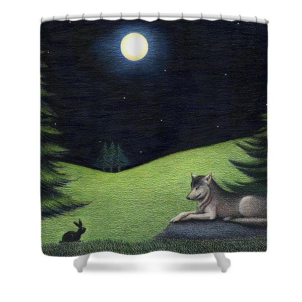 Bunny Visits Wolf Shower Curtain