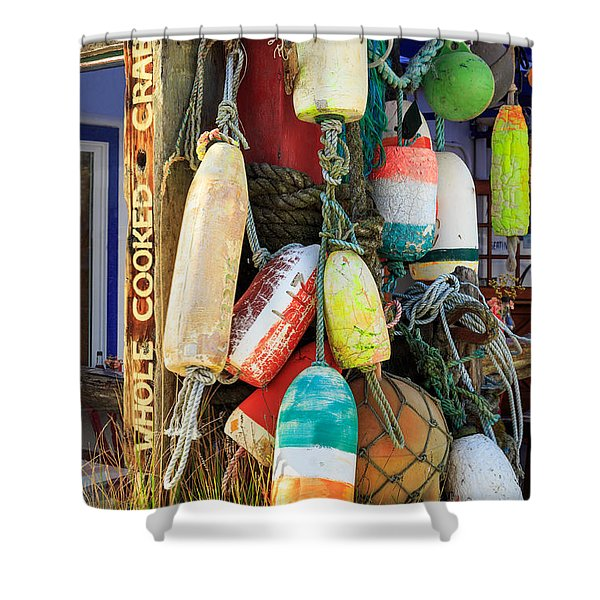 Buoys At The Crab Shack Shower Curtain